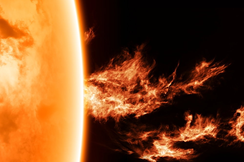 Close up of a solar flare.